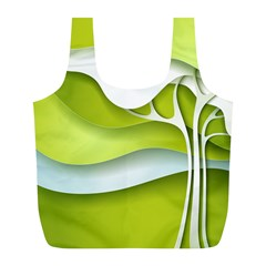 Tree Wood  White Green Full Print Recycle Bags (l)  by Alisyart