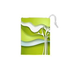 Tree Wood  White Green Drawstring Pouches (xs)  by Alisyart
