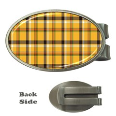 Plaid Yellow Line Money Clips (oval)