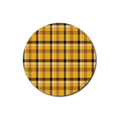 Plaid Yellow Line Rubber Round Coaster (4 Pack)