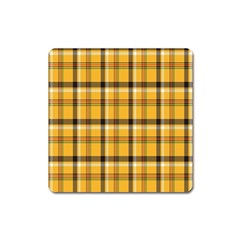 Plaid Yellow Line Square Magnet by Alisyart