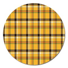 Plaid Yellow Line Magnet 5  (round) by Alisyart