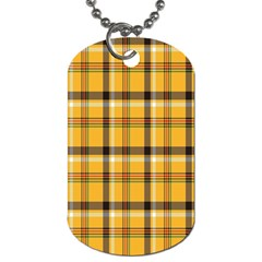 Plaid Yellow Line Dog Tag (one Side)