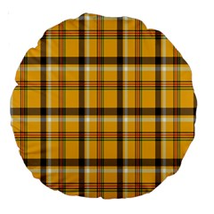 Plaid Yellow Line Large 18  Premium Round Cushions by Alisyart