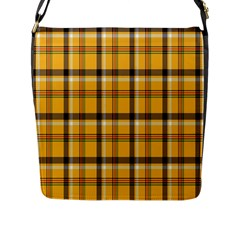 Plaid Yellow Line Flap Messenger Bag (l)  by Alisyart