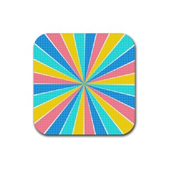 Rhythm Heaven Megamix Circle Star Rainbow Color Rubber Square Coaster (4 Pack)  by Alisyart