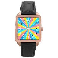 Rhythm Heaven Megamix Circle Star Rainbow Color Rose Gold Leather Watch  by Alisyart