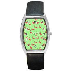 Flamingo Pattern Barrel Style Metal Watch by Valentinaart