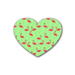 Flamingo Pattern Rubber Coaster (heart)  by Valentinaart
