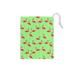 Flamingo Pattern Drawstring Pouches (small)  by Valentinaart
