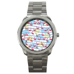 Flamingo Pattern Sport Metal Watch by Valentinaart