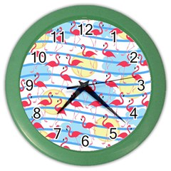 Flamingo Pattern Color Wall Clocks by Valentinaart