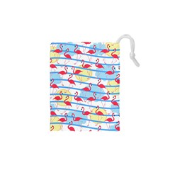 Flamingo Pattern Drawstring Pouches (xs)  by Valentinaart