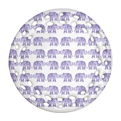 Indian Elephant Pattern Ornament (round Filigree) by Valentinaart