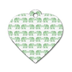 Indian Elephant Pattern Dog Tag Heart (one Side)