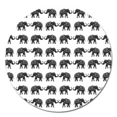 Indian Elephant Pattern Magnet 5  (round) by Valentinaart
