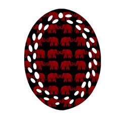 Indian Elephant Pattern Ornament (oval Filigree) by Valentinaart