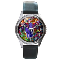 Abstract Elephant With Butterfly Ears Colorful Galaxy Round Metal Watch