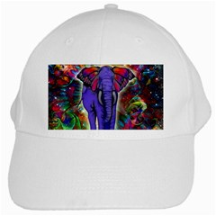 Abstract Elephant With Butterfly Ears Colorful Galaxy White Cap