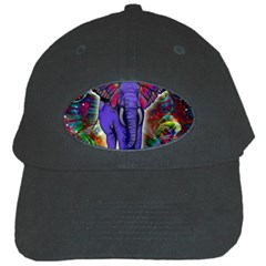 Abstract Elephant With Butterfly Ears Colorful Galaxy Black Cap