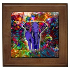 Abstract Elephant With Butterfly Ears Colorful Galaxy Framed Tiles by EDDArt