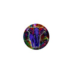 Abstract Elephant With Butterfly Ears Colorful Galaxy 1  Mini Buttons