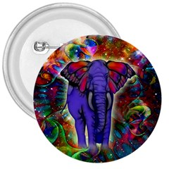 Abstract Elephant With Butterfly Ears Colorful Galaxy 3  Buttons