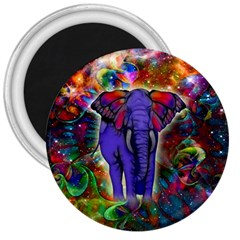 Abstract Elephant With Butterfly Ears Colorful Galaxy 3  Magnets