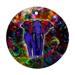 Abstract Elephant With Butterfly Ears Colorful Galaxy Ornament (round)