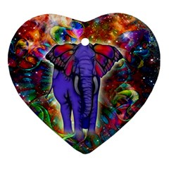 Abstract Elephant With Butterfly Ears Colorful Galaxy Ornament (heart)