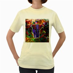 Abstract Elephant With Butterfly Ears Colorful Galaxy Women s Yellow T Shirt