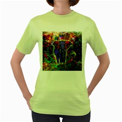 Abstract Elephant With Butterfly Ears Colorful Galaxy Women s Green T Shirt