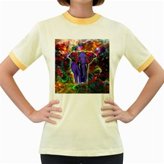 Abstract Elephant With Butterfly Ears Colorful Galaxy Women s Fitted Ringer T Shirts by EDDArt