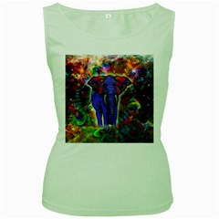 Abstract Elephant With Butterfly Ears Colorful Galaxy Women s Green Tank Top by EDDArt