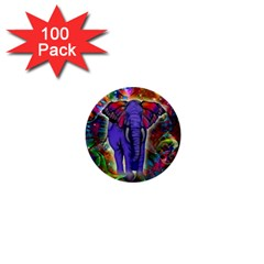 Abstract Elephant With Butterfly Ears Colorful Galaxy 1  Mini Buttons (100 Pack)