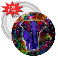 Abstract Elephant With Butterfly Ears Colorful Galaxy 3  Buttons (100 Pack)