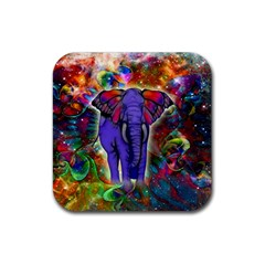 Abstract Elephant With Butterfly Ears Colorful Galaxy Rubber Square Coaster (4 Pack)