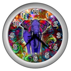 Abstract Elephant With Butterfly Ears Colorful Galaxy Wall Clocks (silver)