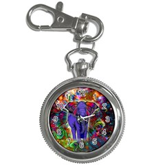 Abstract Elephant With Butterfly Ears Colorful Galaxy Key Chain Watches