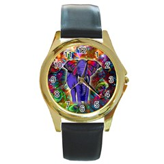 Abstract Elephant With Butterfly Ears Colorful Galaxy Round Gold Metal Watch