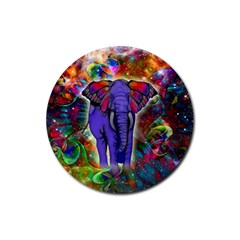 Abstract Elephant With Butterfly Ears Colorful Galaxy Rubber Coaster (round)