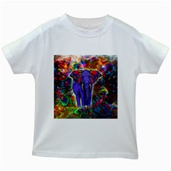 Abstract Elephant With Butterfly Ears Colorful Galaxy Kids White T Shirts
