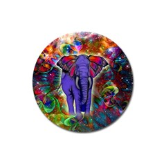 Abstract Elephant With Butterfly Ears Colorful Galaxy Magnet 3  (round)