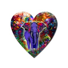 Abstract Elephant With Butterfly Ears Colorful Galaxy Heart Magnet