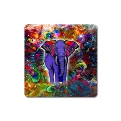 Abstract Elephant With Butterfly Ears Colorful Galaxy Square Magnet