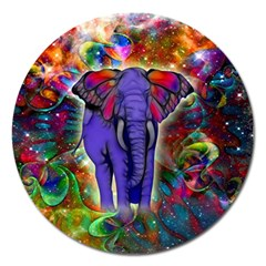 Abstract Elephant With Butterfly Ears Colorful Galaxy Magnet 5  (round)