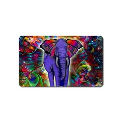 Abstract Elephant With Butterfly Ears Colorful Galaxy Magnet (name Card) by EDDArt