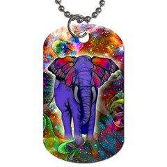Abstract Elephant With Butterfly Ears Colorful Galaxy Dog Tag (one Side)