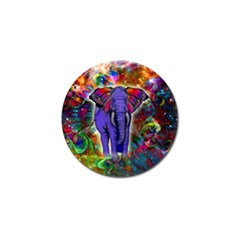 Abstract Elephant With Butterfly Ears Colorful Galaxy Golf Ball Marker by EDDArt