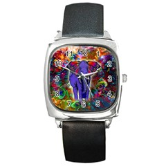 Abstract Elephant With Butterfly Ears Colorful Galaxy Square Metal Watch